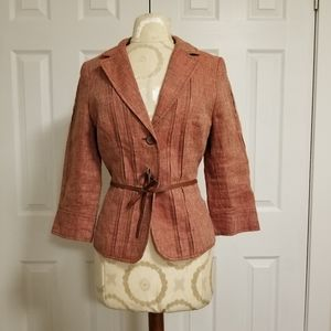 H&M Soft Rust/Red Linen Jacket - Size 6